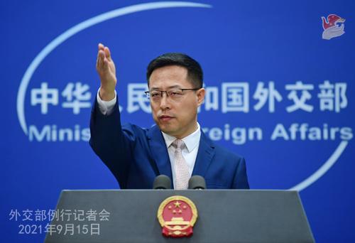外交部发言人赵立坚。 拍摄:薛伟
