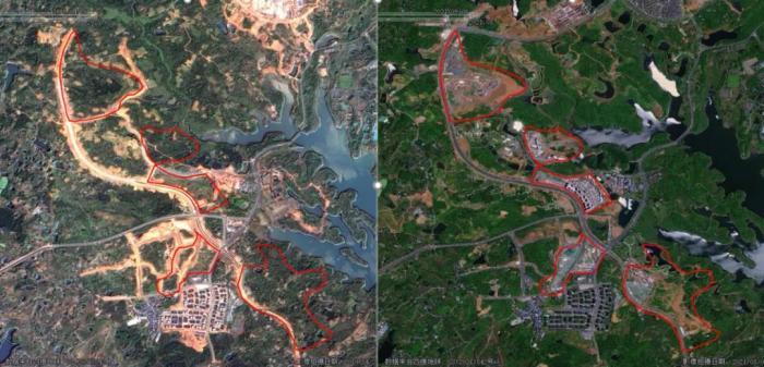 左侧为2019年4月卫星影像图,黑龙滩饮用水水源准保护区内部分土地尚未开发利用,植被覆盖较好;右侧为2021年8月卫星影像图,该区域内有大量房地产项目开发建设,影响生态系统的原真性和完整性