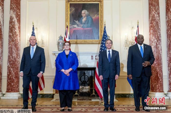 当地时间16日,美国和澳大利亚召开双部长会晤。图中从左起依次是澳防长达顿、澳外长佩恩、美国务卿布林肯、美防长奥斯汀。