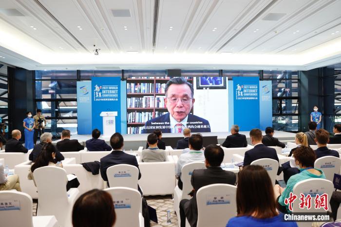 图为第56届联合国大会主席韩升洙通过视频连线致辞。 中新社记者 韩海丹 摄