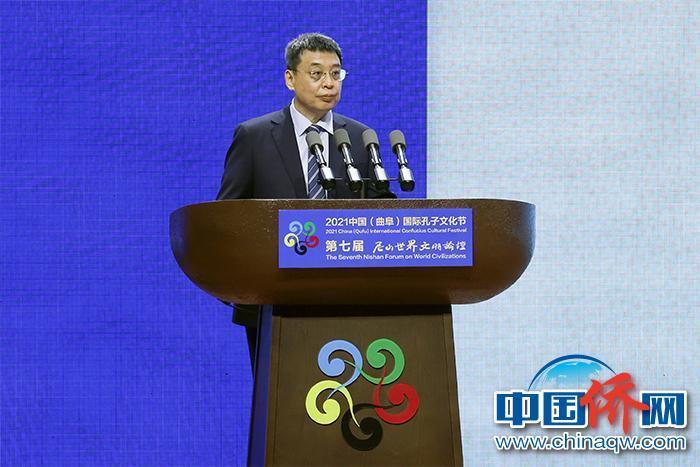 9月27日,中央统战部副部长、国务院侨务办公室主任潘岳在第七届尼山世界文明论坛发表主旨演讲。 中新社记者 盛佳鹏 摄