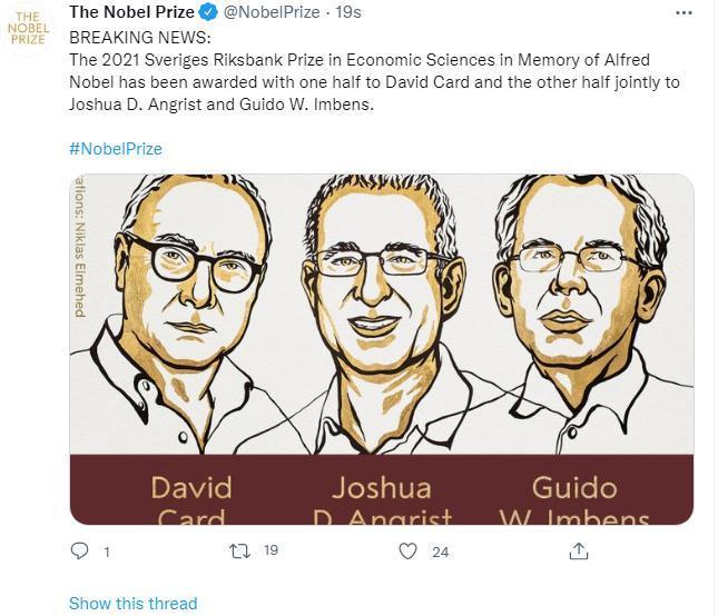 图片来源:诺贝尔奖社交媒体账号截图。