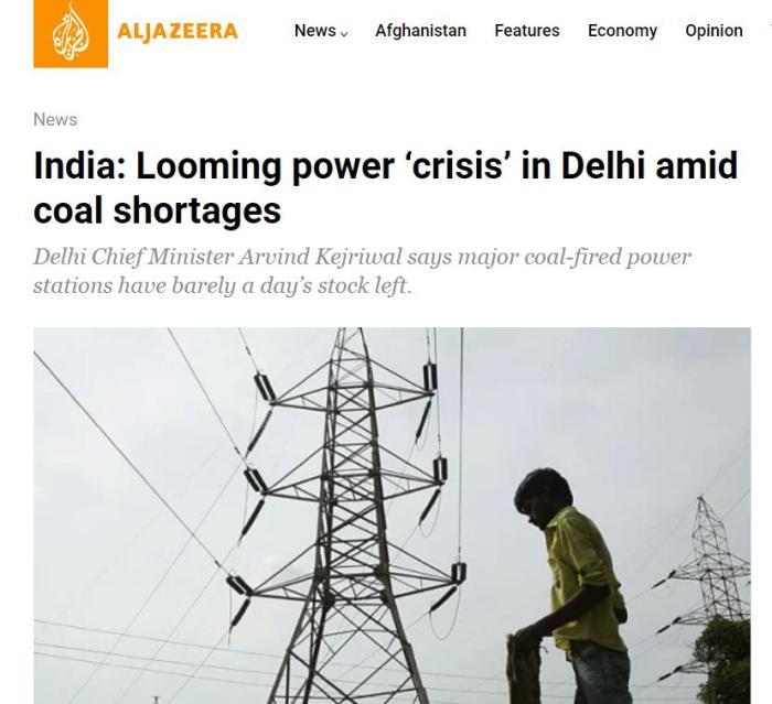 印度新德里面临电力危机。图片来源:半岛电视台银河网址客户端网(Aljazeera)报道截图。