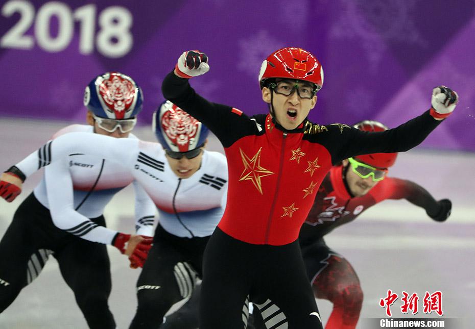 平昌冬奥会短道速滑男子500米决赛中,中国选手武大靖夺得金牌。中新社记者 宋吉河 摄