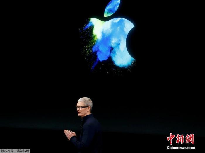 资料图:苹果公司CEO蒂姆·库克在新品发布会上宣讲。