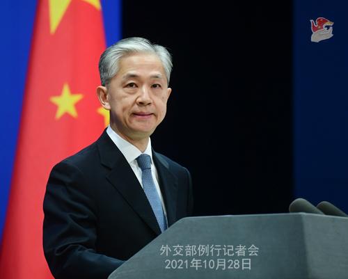 外交部发言人汪文斌。 拍摄者 薛伟