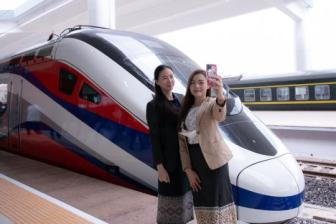 Chinese-made bullet train makes public debut in Laotian capital