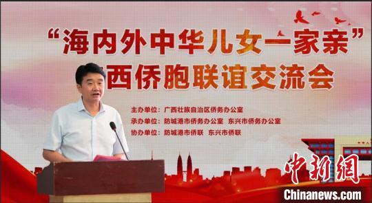 防城港市委常委、统战部部长黎家迎在联谊交流会上致辞 广西统战部供图